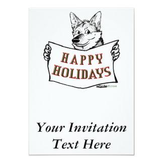 """Perro del navidad:  ¡Buenas fiestas! Invitación 5"""" X 7"""""""