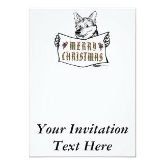 """Perro del navidad:  ¡Felices Navidad! Invitación 5"""" X 7"""""""