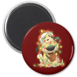 Perro del navidad imán redondo 5 cm
