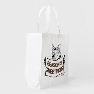 Perro del navidad:  ¡Los saludos de la estación! Bolsa Reutilizable