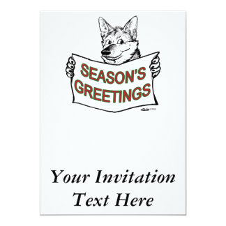 """Perro del navidad:  ¡Los saludos de la estación! Invitación 5"""" X 7"""""""