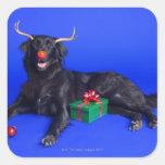 Perro del navidad calcomanías cuadradas personalizadas
