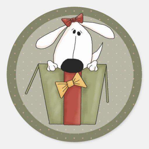 Perro del navidad pegatina redonda