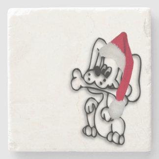 Perro del navidad posavasos de piedra