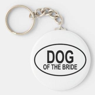 Perro del negro de la novia que casa óvalo llavero personalizado