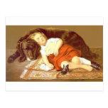 Perro del niño y el dormir postales