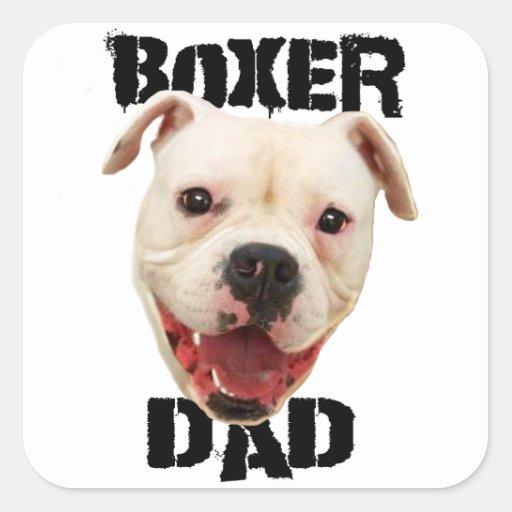 Perro del papá del boxeador pegatina cuadrada