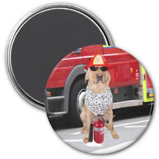 Perro del parque de bomberos imán redondo 7 cm