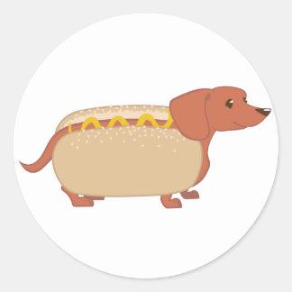 Perro del perrito caliente pegatina redonda