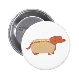 Perro del perrito caliente pin redondo de 2 pulgadas