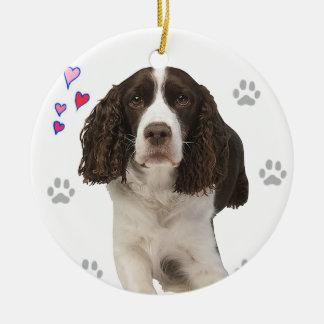 Perro del perro de aguas de saltador inglés adorno navideño redondo de cerámica