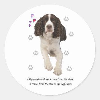 Perro del perro de aguas de saltador inglés pegatina redonda