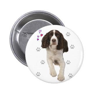Perro del perro de aguas de saltador inglés pin redondo de 2 pulgadas