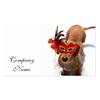 Perro del perro de patas muy cortas del carnaval tarjetas de visita
