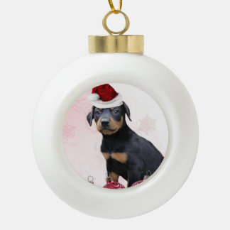 Perro del Pinscher del Doberman del navidad Adorno De Cerámica En Forma De Bola
