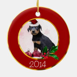 Perro del Pinscher del Doberman del navidad Adorno Navideño Redondo De Cerámica