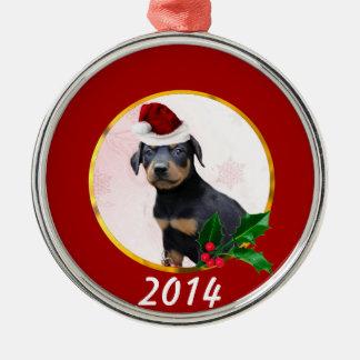 Perro del Pinscher del Doberman del navidad Adorno Navideño Redondo De Metal