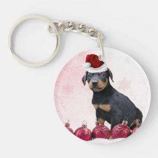 Perro del Pinscher del Doberman del navidad Llavero Redondo Acrílico A Una Cara