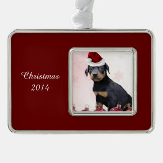 Perro del Pinscher del Doberman del navidad Marcos De Adorno Plateado