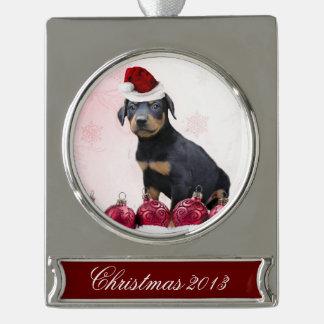 Perro del Pinscher del Doberman del navidad Rótulos De Adorno Plateado