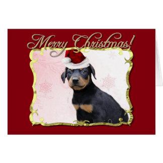 Perro del Pinscher del Doberman del navidad Tarjeta De Felicitación