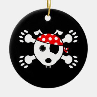 Perro del pirata adorno navideño redondo de cerámica
