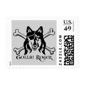 Perro del pirata del collie sellos postales