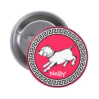 Perro del pitbull del arte del vector - botón pin redondo de 2 pulgadas