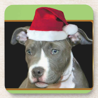 Perro del pitbull del navidad posavaso