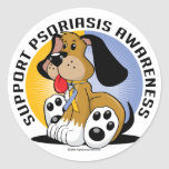 Perro del psoriasis pegatina redonda