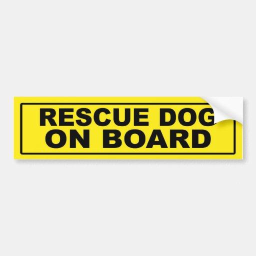 Perro del rescate a bordo pegatina para auto