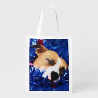 Perro del rescate del pitbull en barras y bolsa reutilizable