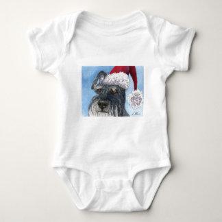 Perro del Schnauzer que lleva el gorra de Santa Body Para Bebé
