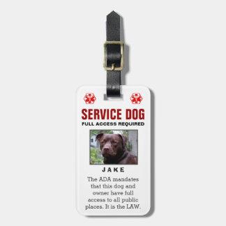 Perro del servicio - insignia requerida acceso etiquetas para maletas
