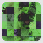 Perro del tablero del tablero de damas pegatinas cuadradases personalizadas
