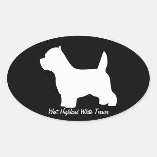 Perro del terrier blanco de montaña del oeste, pegatina óval personalizadas
