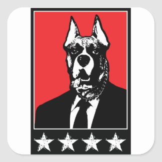 Perro del traje de negocios pegatina cuadrada
