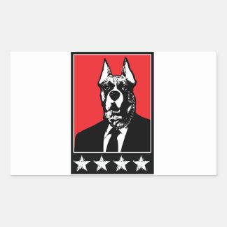 Perro del traje de negocios pegatina rectangular