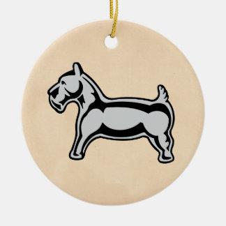 Perro del vintage adorno navideño redondo de cerámica