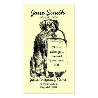 Perro del vintage con la cesta tarjetas de visita