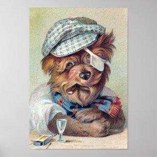 """Perro del vintage """"del viejo bribón"""" póster"""