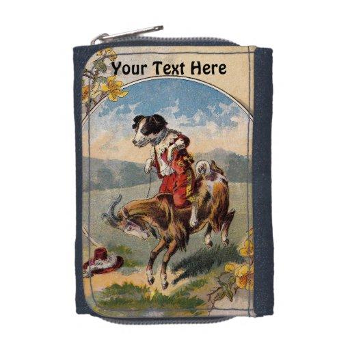 Perro del vintage y cartera de la foto de la cabra