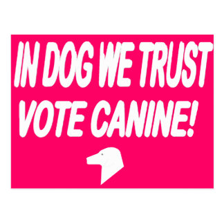 Perro del voto con el texto blanco postales