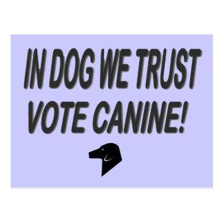 Perro del voto con el texto negro tarjetas postales