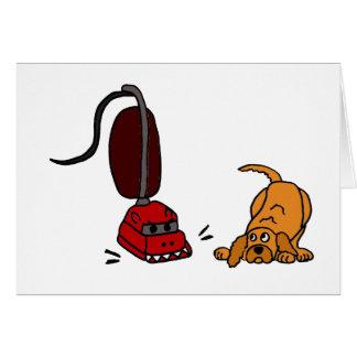 Perro divertido asustado de aspirador tarjetas