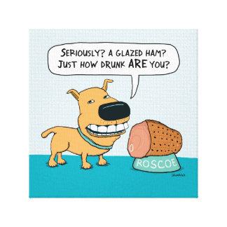 Perro divertido con la impresión envuelta jamón lona estirada galerias