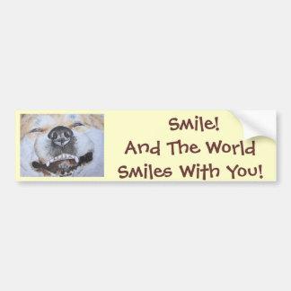 perro divertido de Akita que sonríe con arte del Pegatina Para Auto
