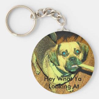 Perro divertido de Puggle Llavero Redondo Tipo Pin