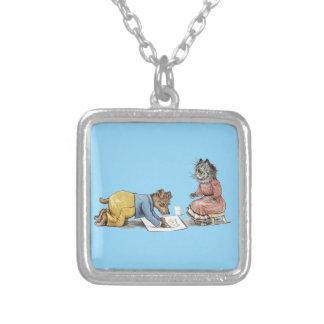 perro divertido del artista que dibuja un gato collar