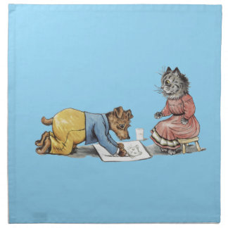 perro divertido del artista que dibuja un gato servilleta de papel